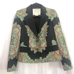 Anthropologie Cartonnier black and green blazer